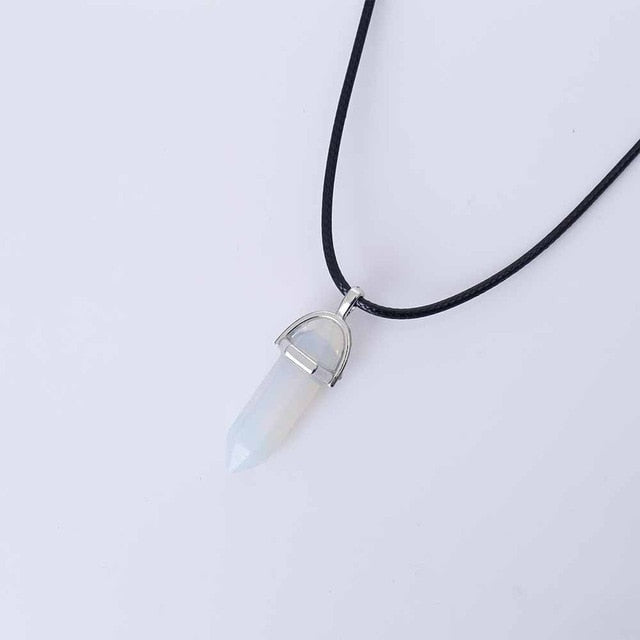 Hexagonal Column Quartz Pendant Necklaces