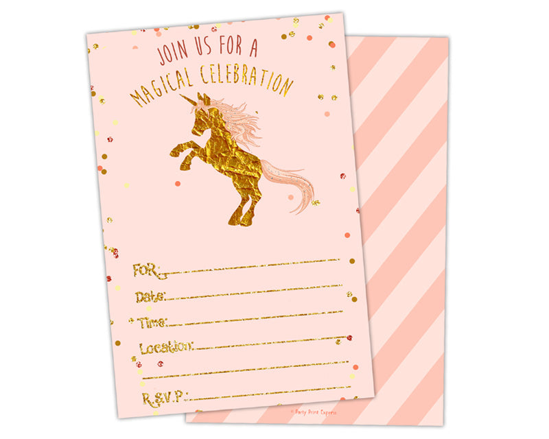 pink and gold fill in blank unicorn birthday invitations party