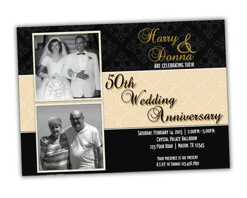 50th Anniversary Party Invitations - Then & Now Photo | Party Print Express