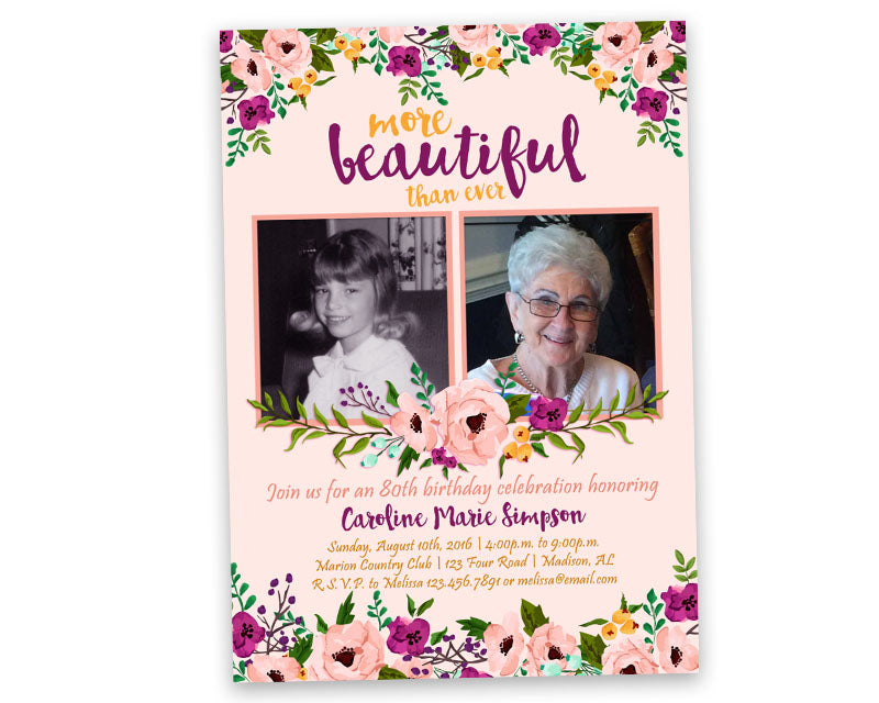Pink Floral Woman Birthday Invitations