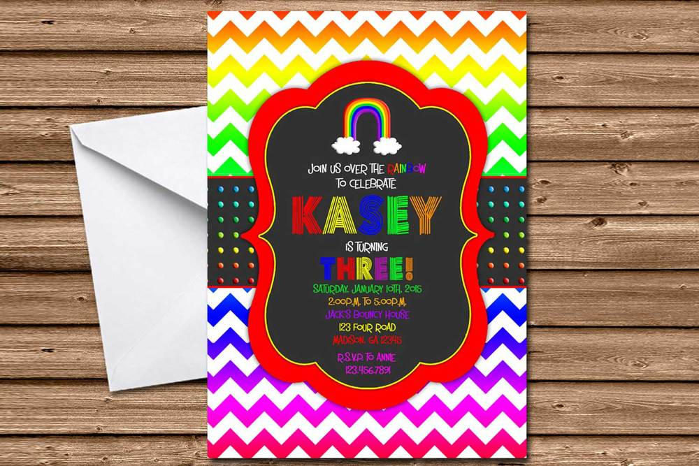 Chalk Rainbow Chevron Birthday Invitations