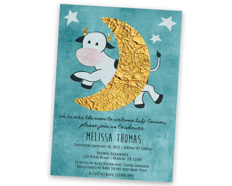 Cow Jumped Over The Moon Baby Shower Invitation
