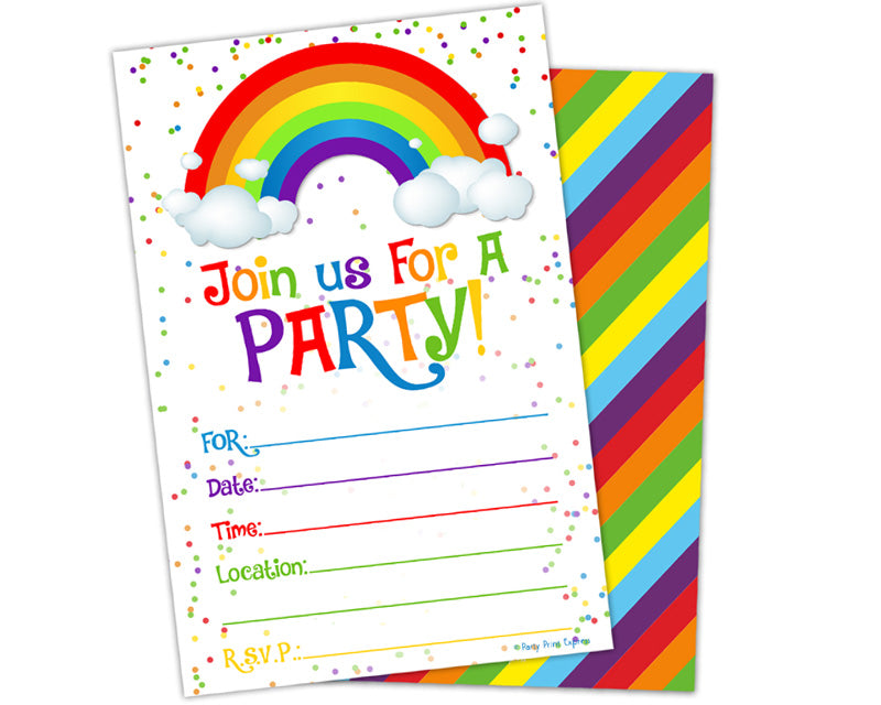 Printed Fill In Blank Rainbow Birthday Invitations