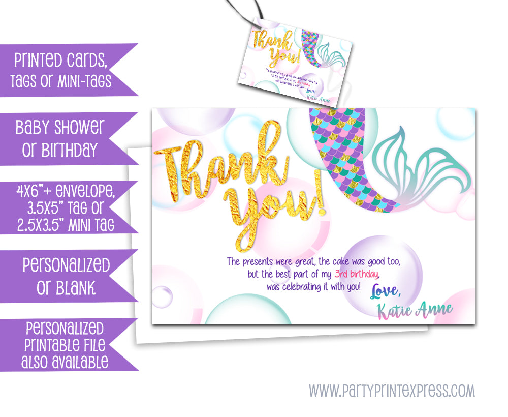 Gold Mermaid Thank You Cards Or Party Tags