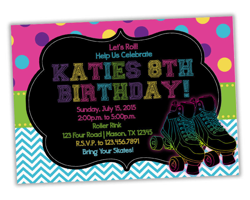 Polka Dot Roller Skating Birthday Invitations