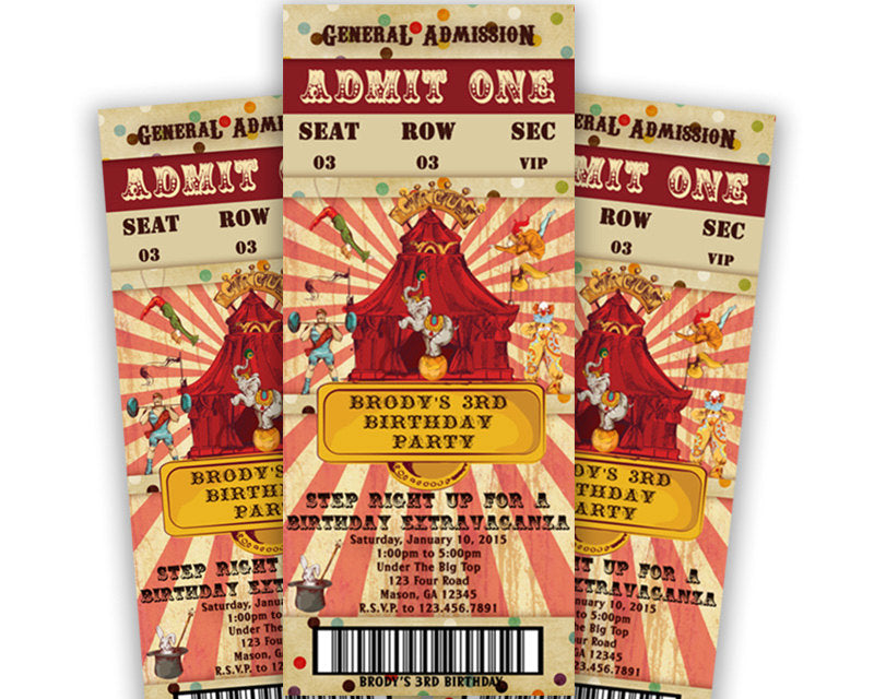 Vintage Circus Birthday Party Admission Ticket Invitations