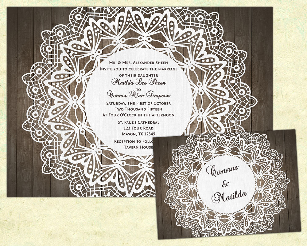 Wood And Doily Wedding Invitation Party Print Express