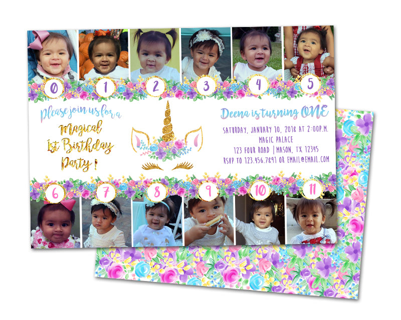 Photo Unicorn 1st Birthday Invitations