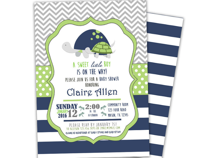 lime turtle baby shower invitations boy party print express