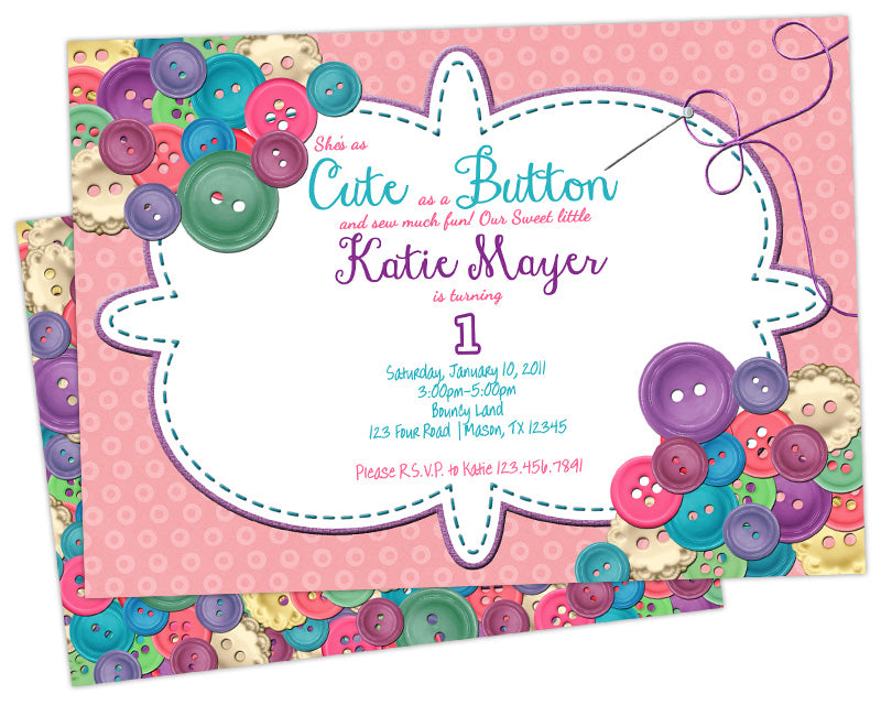 Cute As A Button Birthday Invitations Party Print Express