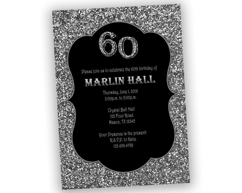 Black and silver adult birthday invitations any age party print black and silver adult birthday invitations any age party print express filmwisefo