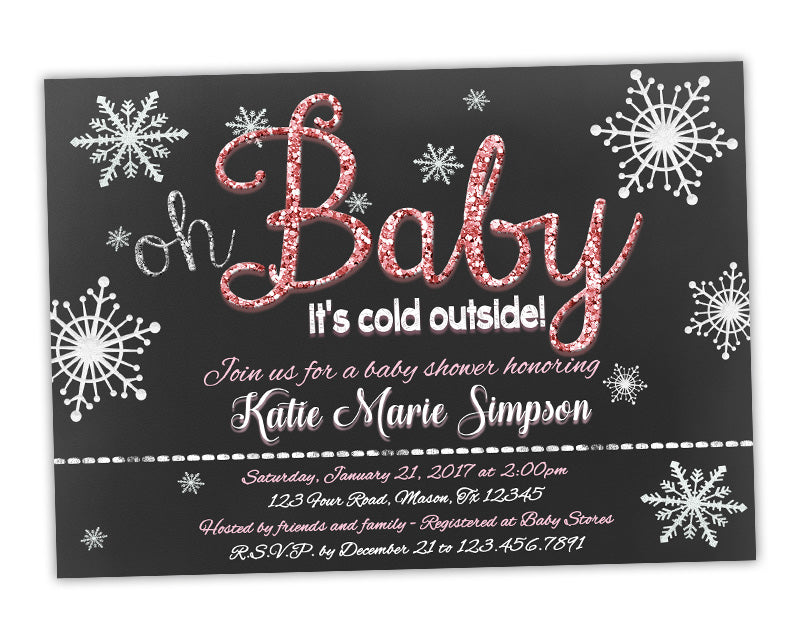 Pink Oh Baby Its Cold Outside Baby Shower Invitation Winter Glitter