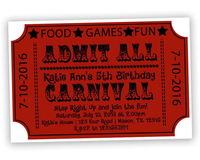 Carnival Ticket Birthday Invitation