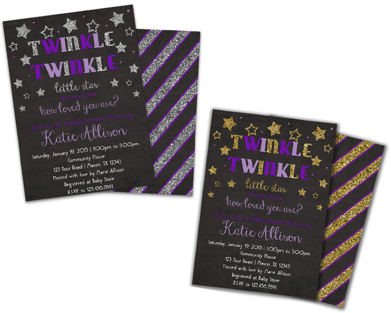 Purple girl twinkle twinkle baby shower invitation party print express filmwisefo