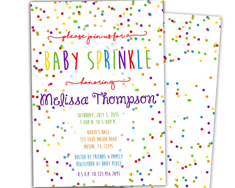Rainbow confetti baby sprinkle shower invitation party print express filmwisefo