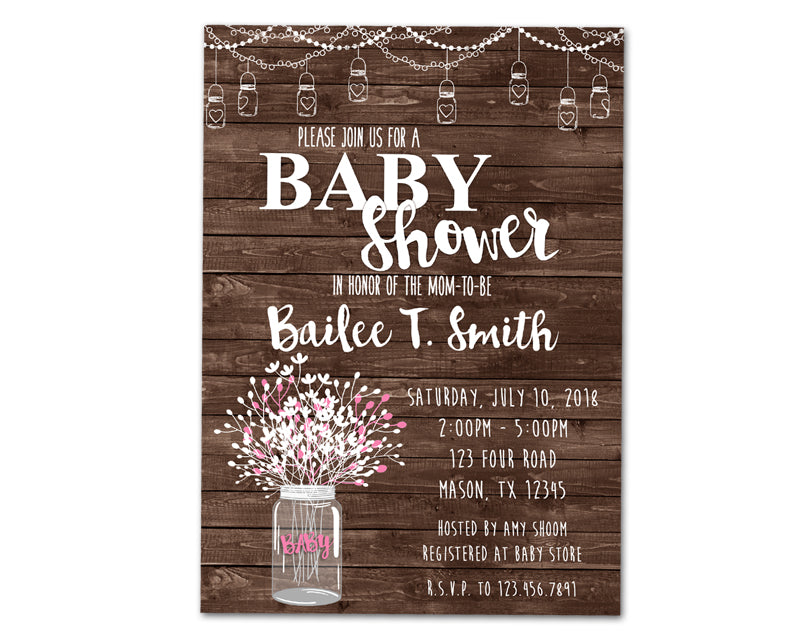 Rustic wood mason jar baby shower invitations boy girl neutral pinkbabyjarg filmwisefo