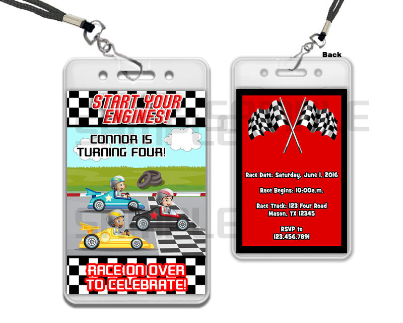 Race Car Vip Pass Birthday Invitation With Lanyards Party Print