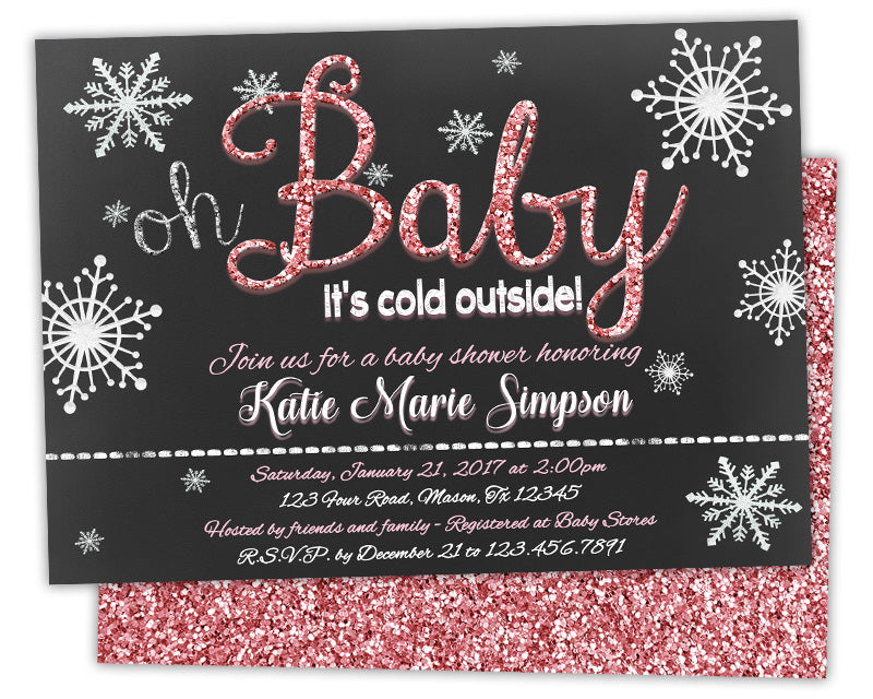 Pink oh baby its cold outside baby shower invitation winter glitter baby shower invites filmwisefo