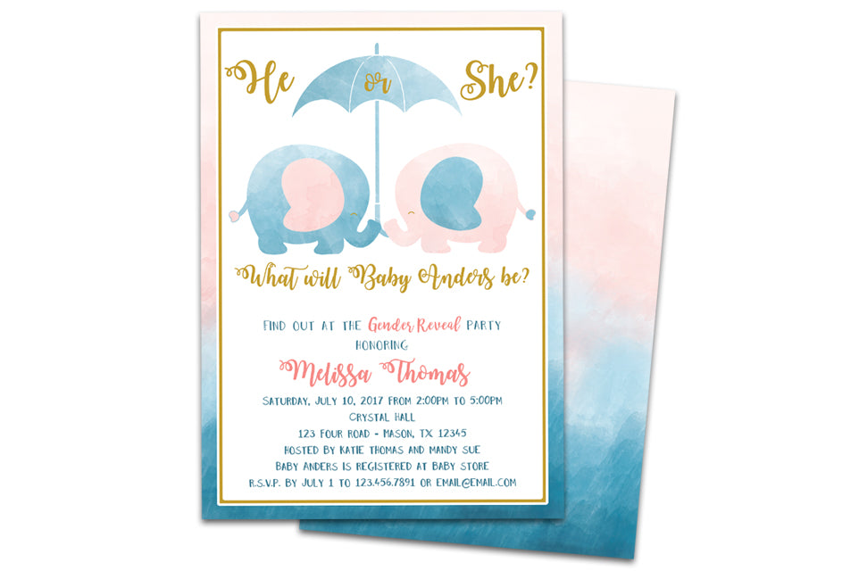 Elephant gender reveal baby shower invitations party print express filmwisefo