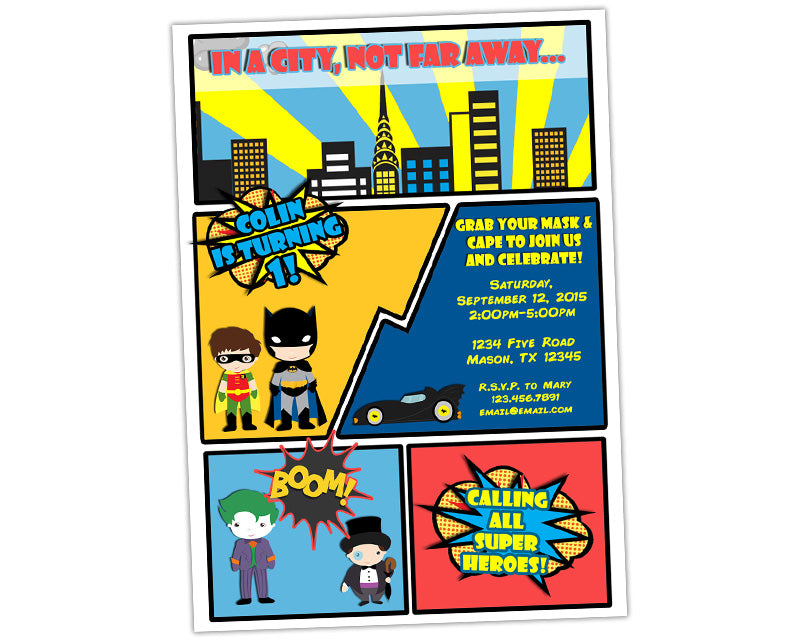 Comic Superhero Birthday Invitations