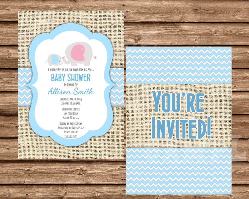 Rustic Burlap Elephant Baby Shower Invitations Pink Blue Purple