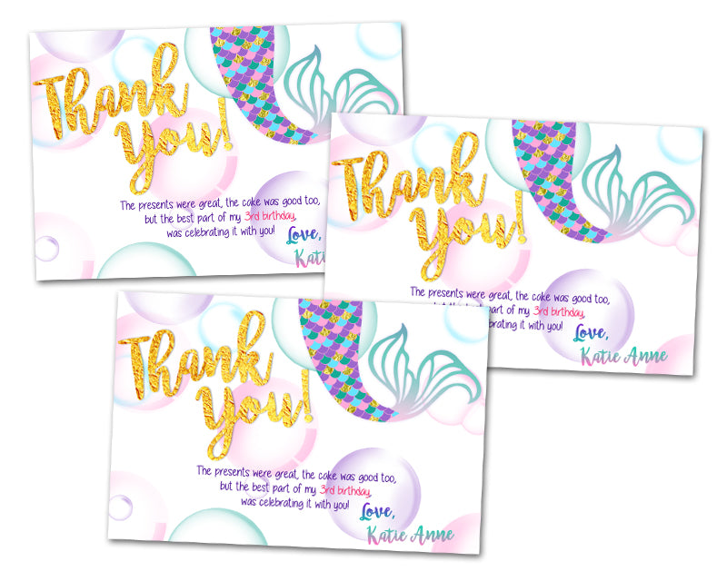 Gold Mermaid Thank You Cards Or Party Tags Party Print Express