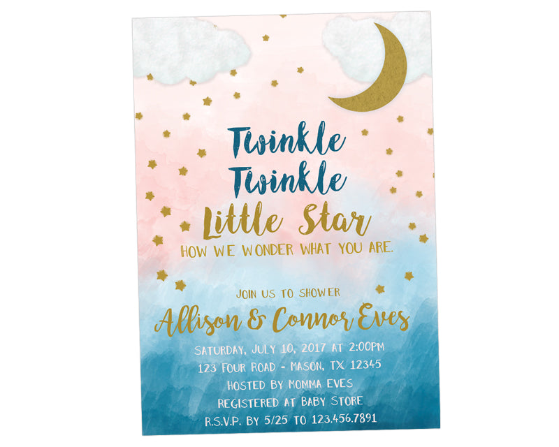 Twinkle Twinkle Gender Neutral Baby Shower Invitations Party Print Express