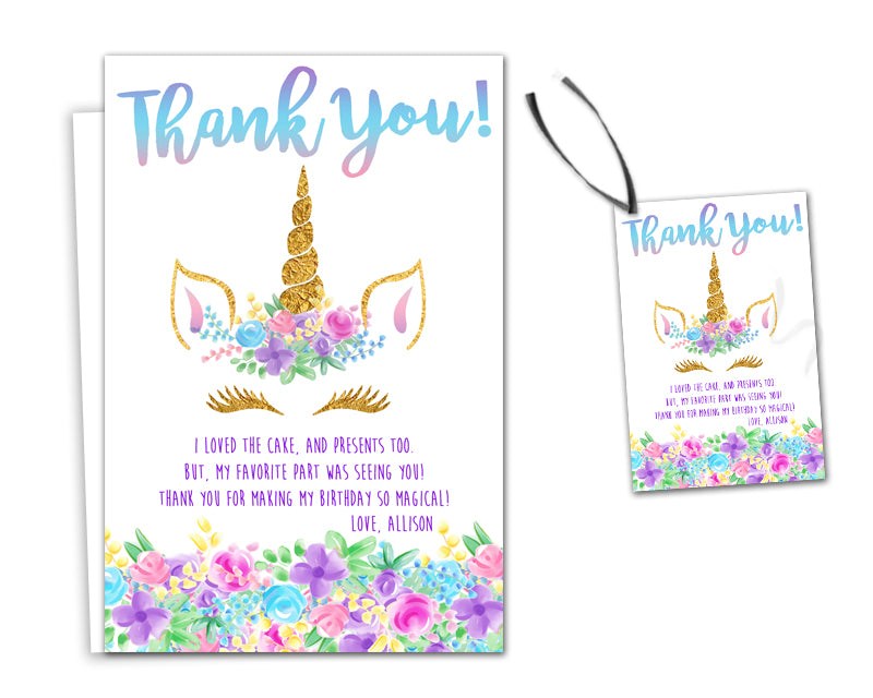 Unicorn Face Thank You Cards Or Party Tags Party Print Express