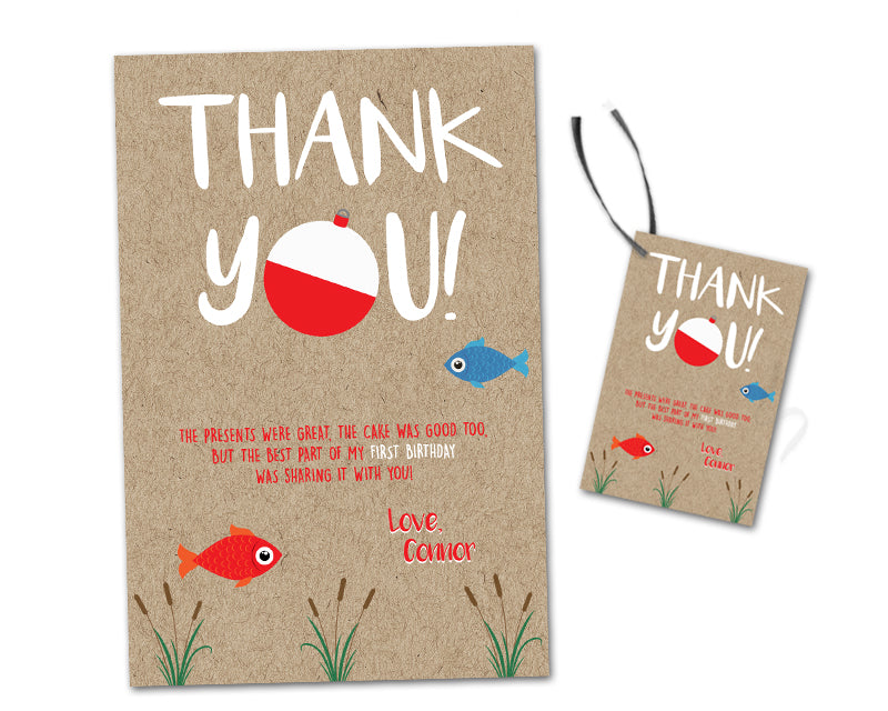 Fishing 1st Birthday Thank You Cards Or Party Tags Party Print Express