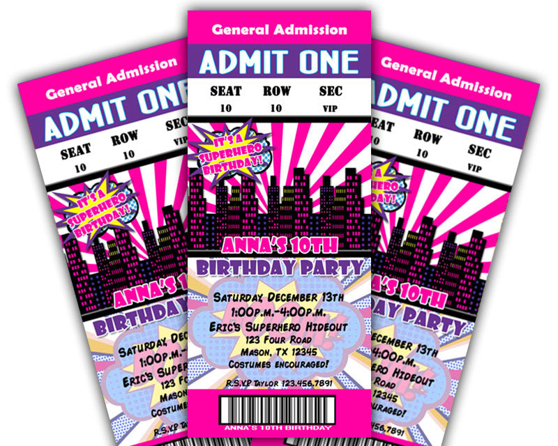 girls pink superhero ticket birthday invitations party print express