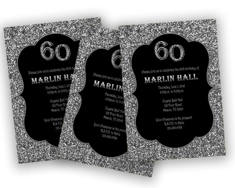Black And Silver Adult Birthday Invitations
