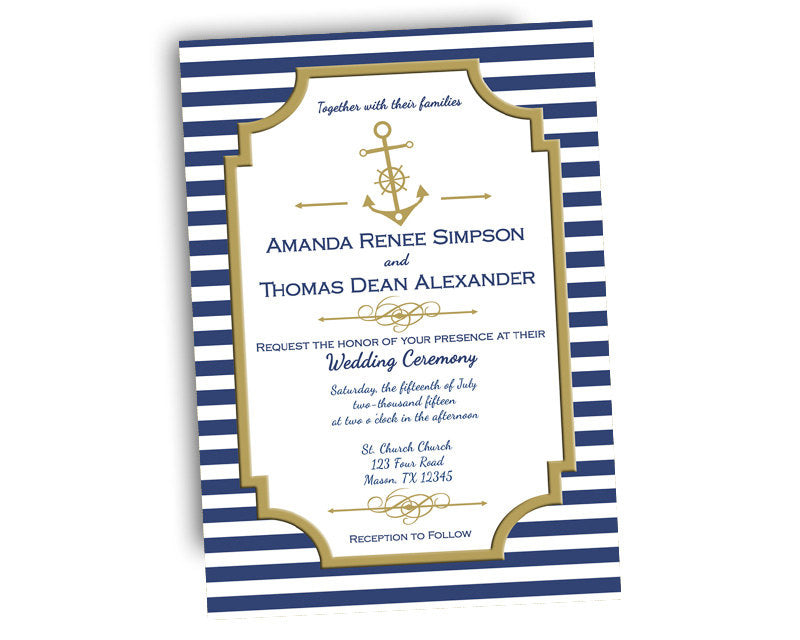 Nautical Wedding Invitations.Elegant Navy And Gold Nautical Wedding Invitations