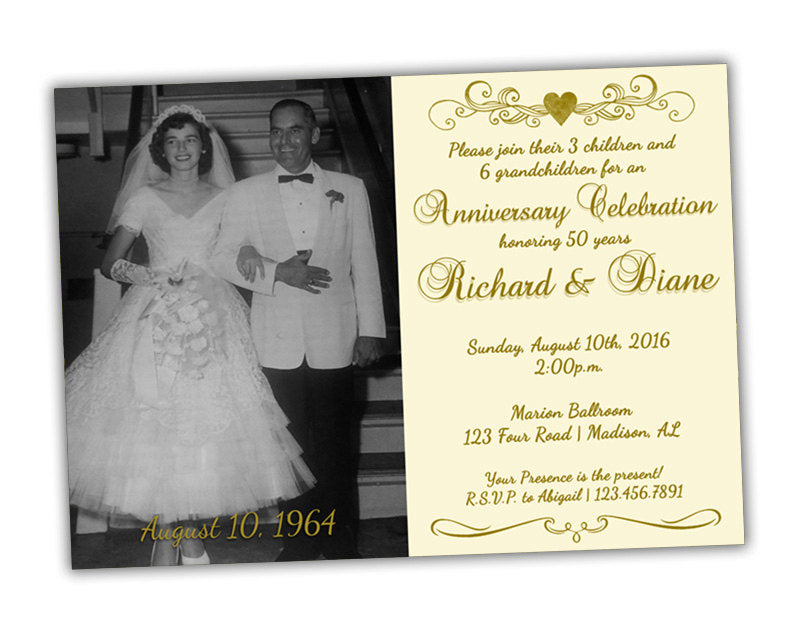 ivory 50th anniversary party invitations wedding golden