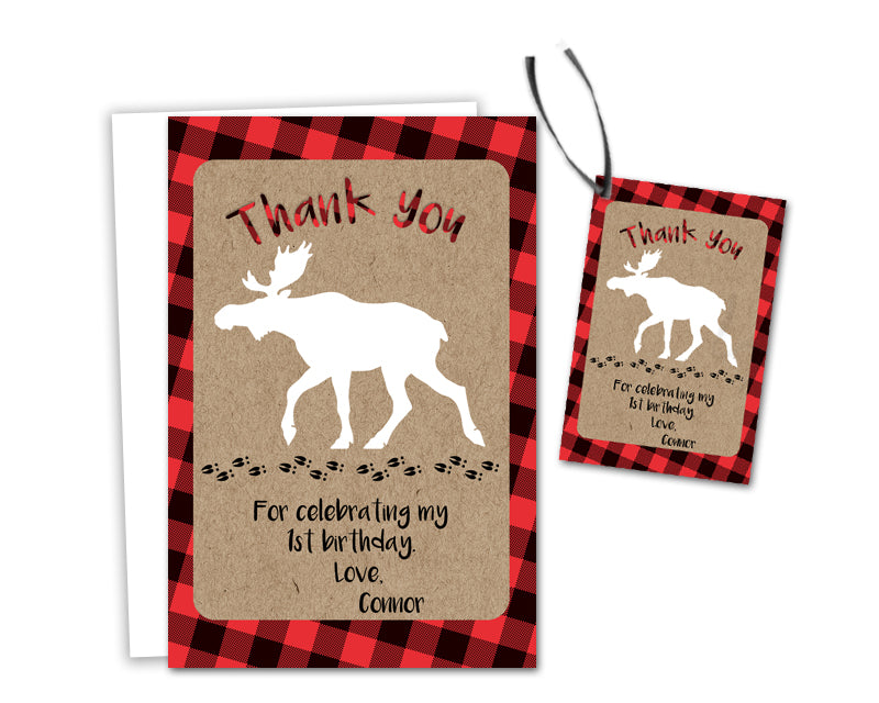 Little Moose Birthday Thank You Cards Or Tags Party Print Express