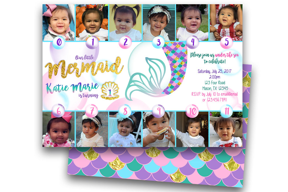 Photo Mermaid 1st Birthday Invitations