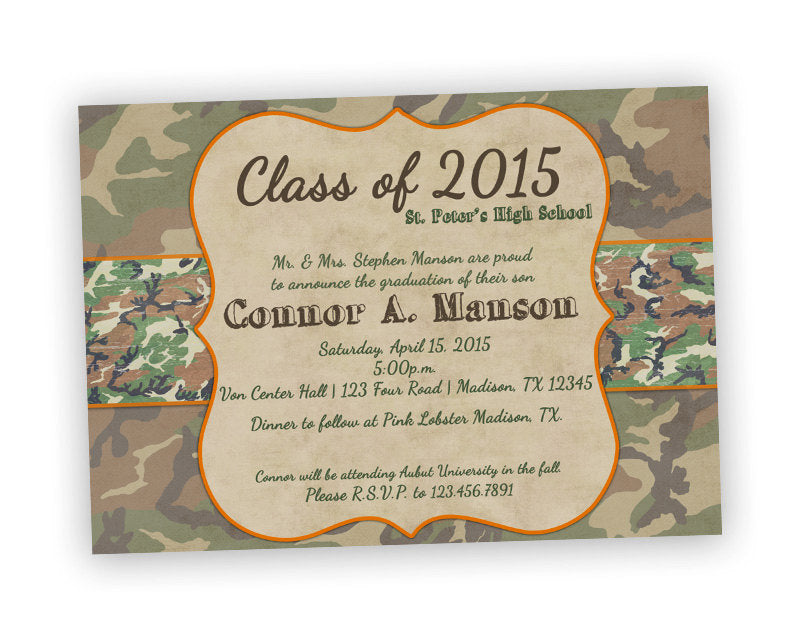 Camouflage graduation invitations party print express filmwisefo