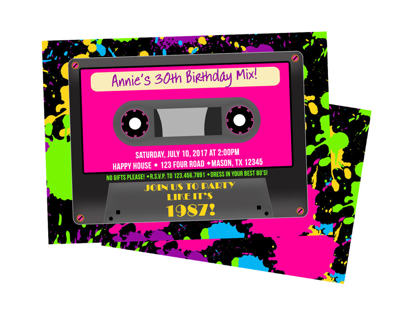 Neon Cassette Tape Birthday Invitations Party Print Express