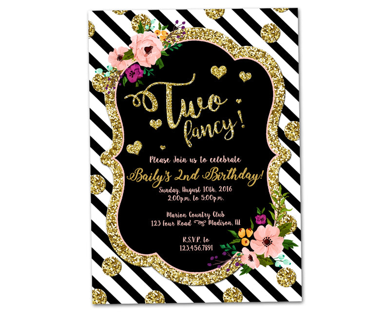 two fancy birthday invitations girl 2nd party print express