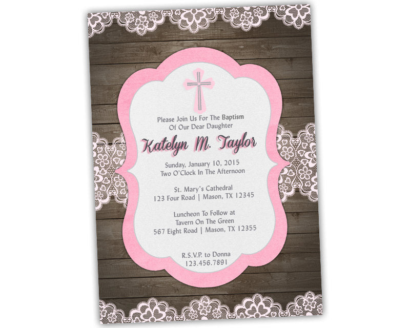 pink religious wood lace baptism invitations girl party print
