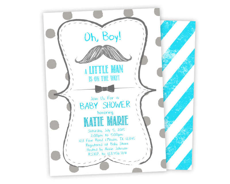 Silver teal mustache bowtie baby shower invitation party print silver teal mustache bowtie baby shower invitation party print express filmwisefo