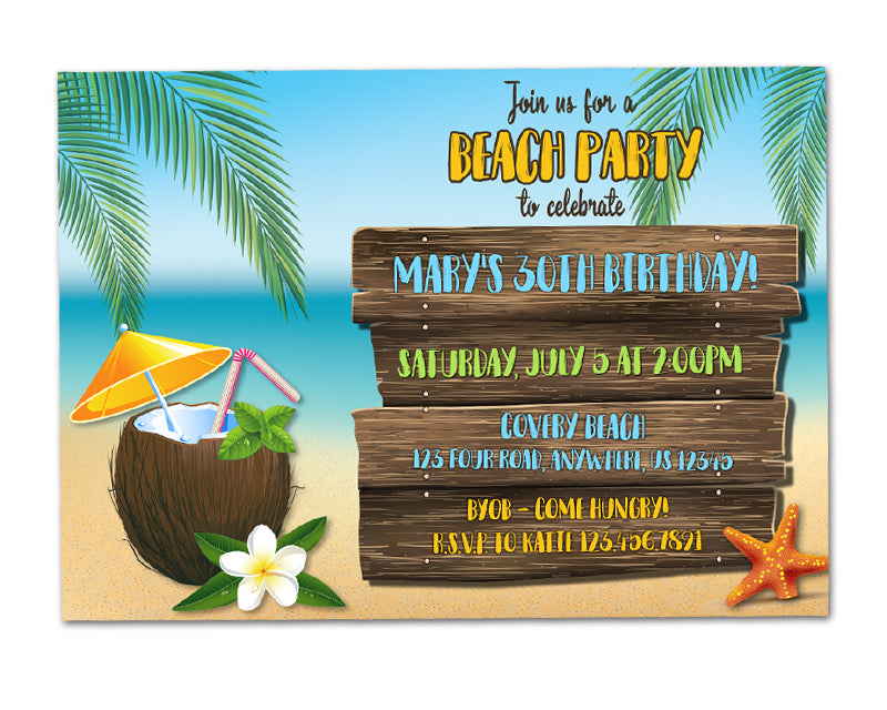 beach party birthday invitations party print express