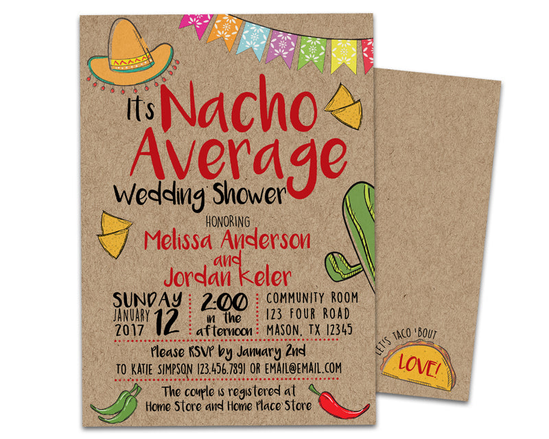 2297b1de68d Nacho Average Bridal Shower Invitations