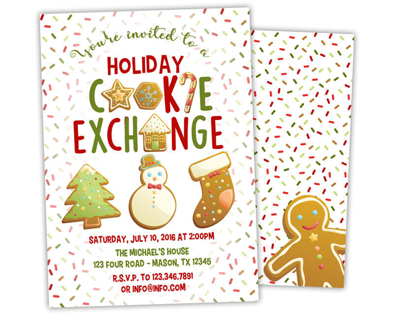 Christmas Cookie Party Invite.Holiday Cookie Exchange Party Invitations