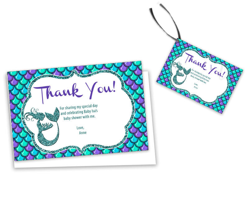 Glitter Mermaid Baby Shower Thank You Cards Or Tags Party Print