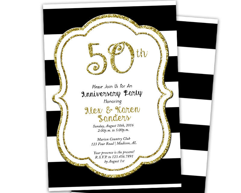 Black And Gold 50th Wedding Anniversary Invitation Party Print Express