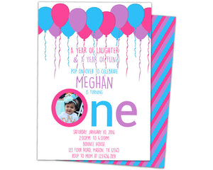 girl big one balloon invitations party print express