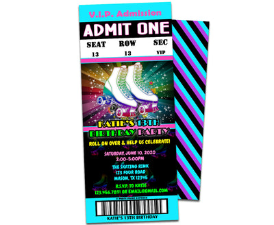 Neon Blue Roller Skating Party Ticket Invitations
