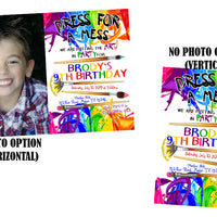 Rainbow Painting Birthday Party Invitations
