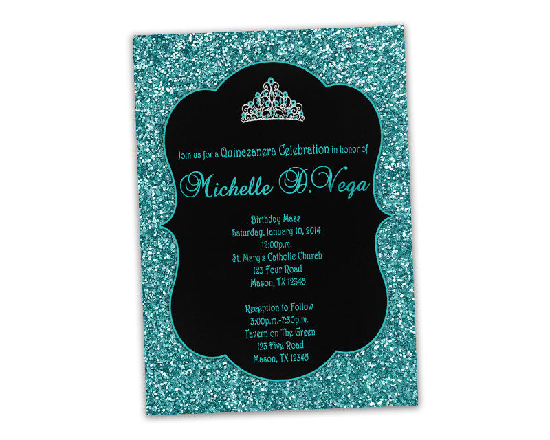 Tiara Turquoise Glitter Sweet 16 Invitations Party Print Express
