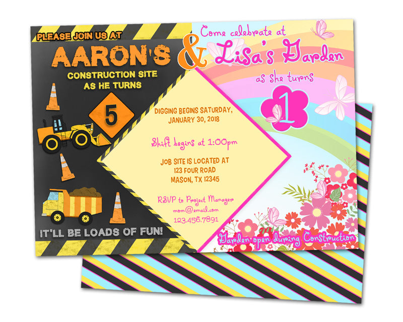 Dual birthday invitations garden construction party print express filmwisefo